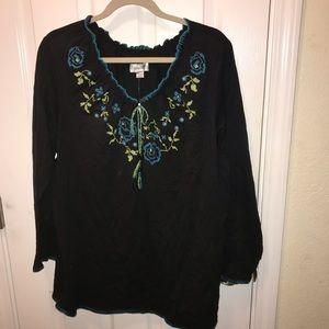 Avenue Boho long sleeve embroidered shirt 22/24